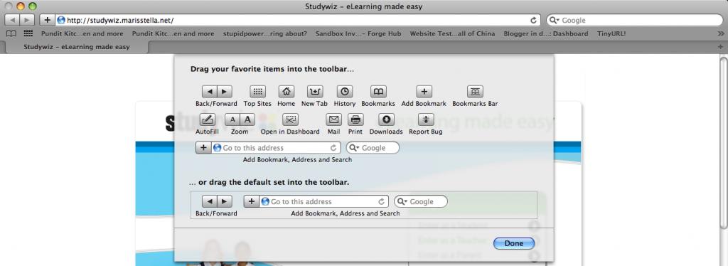 Safari customising toobar