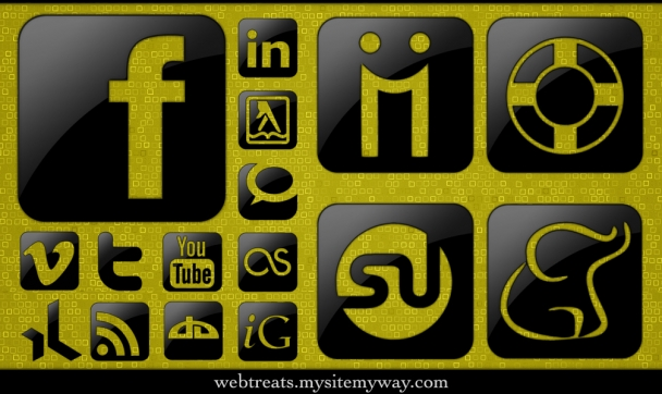 Glossy Black Social Media Icons. 37. Google and Facebook