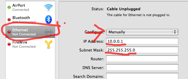 how to manualy connect to server with address mac