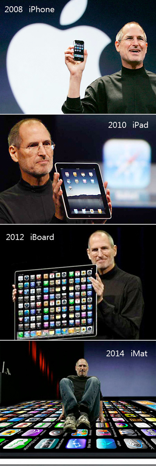 "<img src=""http://i48.tinypic.com/9u9n9t.png"">First it was the iPhone, then the ipad, so what's next?  Gizmodo posted several hilarious images of Steve Jobs showing off his next products. Pretty spot on, don't you think so?"
