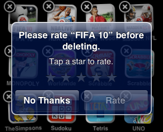 "Another change Apple implemented that caught my attention is the ""Rate on Delete"" feature. I sensed something amiss when I tried uninstalling apps from my iPod Touch and there wasn't any prompt asking me to rate the app was shown, unlike its current version and predecessors. Apparently, the folks over at the California-based tech juggernaut have ditched the controversial prompt in its next version of the iPhone OS. 
