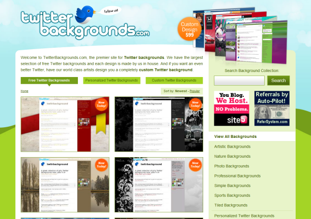 pretty designs for backgrounds. TwitterBackgrounds does pretty