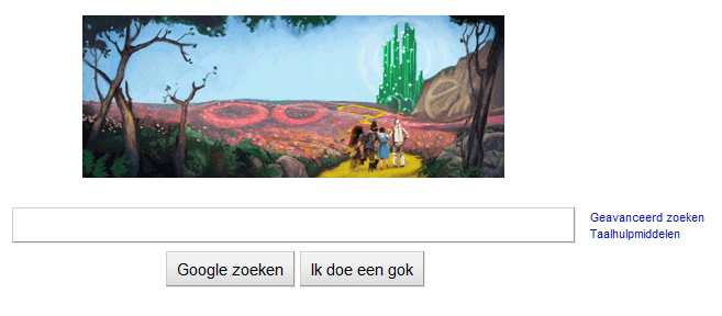 Wizard of Oz Google Home Page